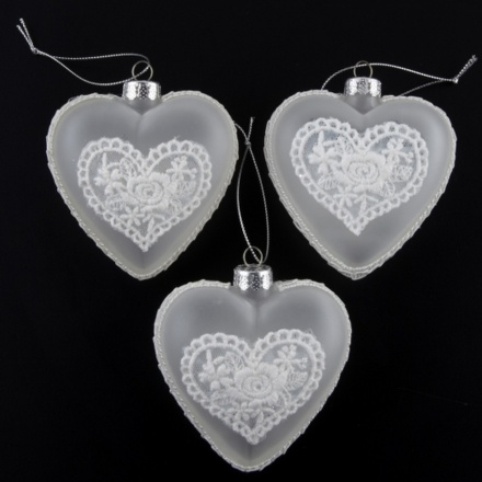 Set of 3 Frosted Glass Hearts with Lace