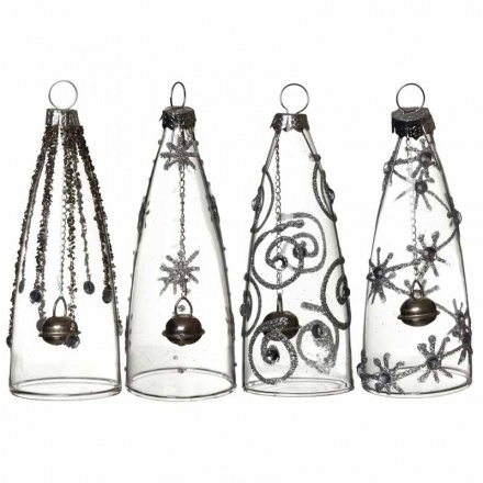 Tall glittery hanging glass decorations