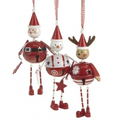 Three festive hanging decorations in santa, snowman and reindeer design.