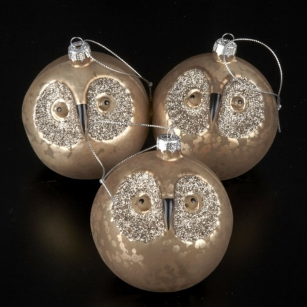 Set of 3 Glitter Eye Owl Baubles