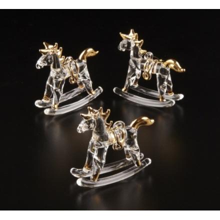 Set of 3 Glass Rocking Horses