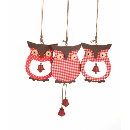 Christmas Wooden Owl Hanger Mix