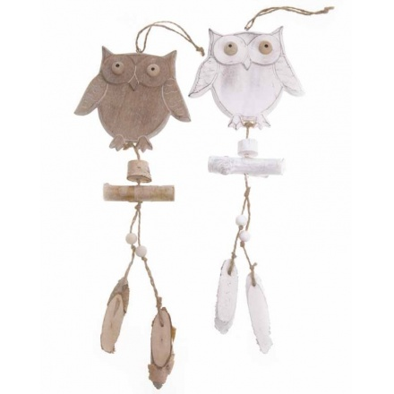 Hanging Wooden Owl Mix