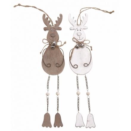Hanging Wooden Reindeer Mix 25cm