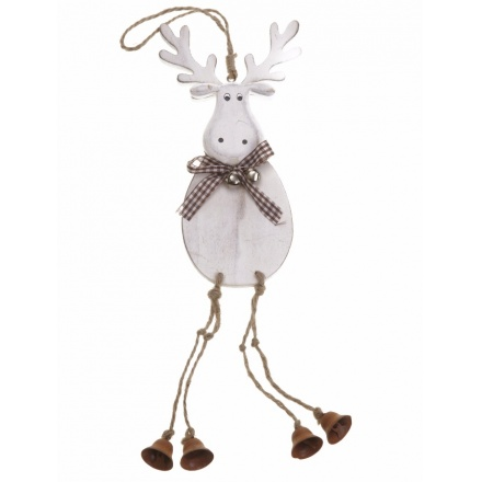 Hanging Wooden Moose with Bell Legs