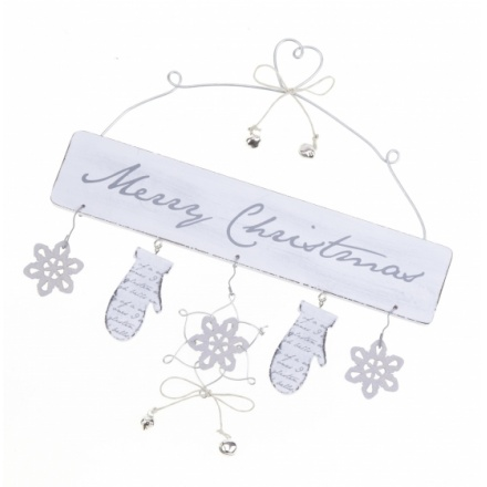 White Merry Christmas Sign 25cm