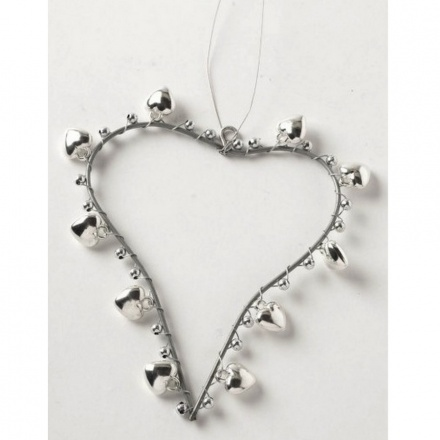 Silver Metal Heart With Shiny Bells