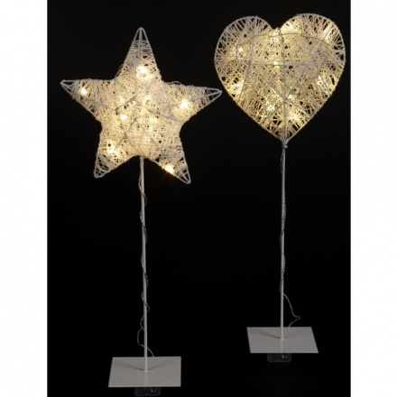 Wire Heart Star on Stand with LED Light