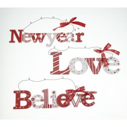 Believe Love New Year Hanger Mix 29cm