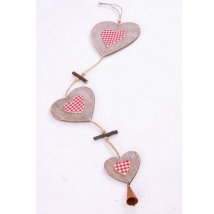 Wooden Heart With Gingham Garland