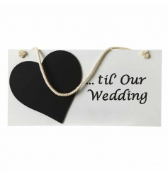 Hanging wooden count down sign with small heart chalk board