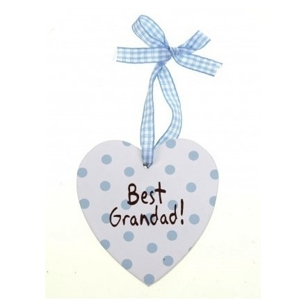 Best Grandad Heart with Hanging Ribbon