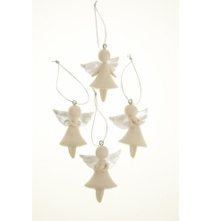 Four assorted hanging angel tree decorations. Multiples of 12.