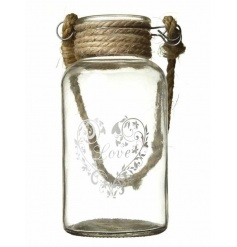 Glass bottle which can be used for decorating flowers or t light candles