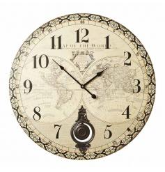 Antique style atlas clock with pendulum