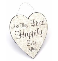 Wooden hanging heart with And They Lived Happily Ever After design