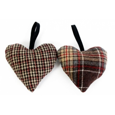 Tweed scented hearts in 2 different patterns