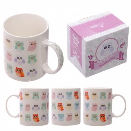 Owl Design China Mug Boxed