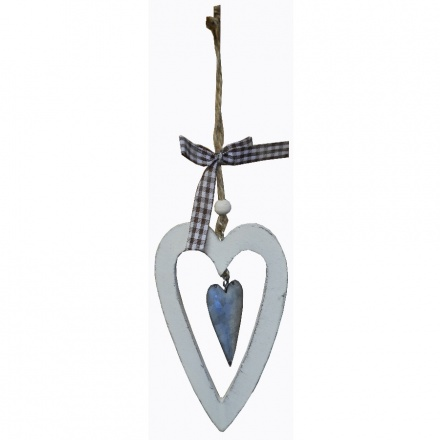 Country Chic Hanging Heart Dec Cream