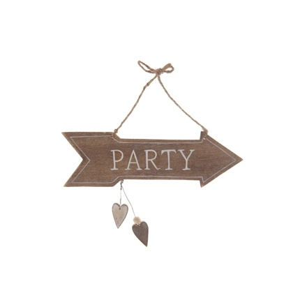 Party Arrow Sign - Natural Wood