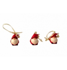 Santas are made from ceramic, decorated with a bell and gold ribbon to hang