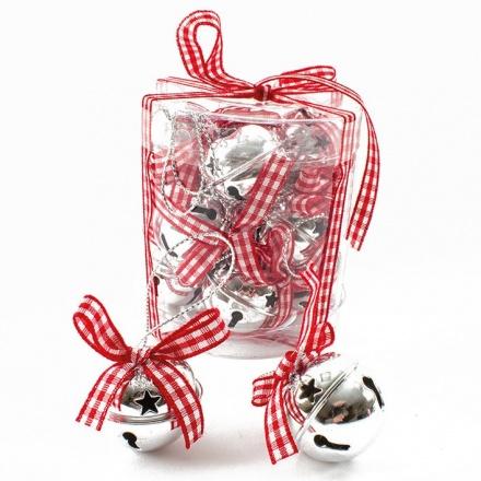 Red Check Ribbon Boxed Bell Set