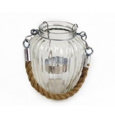 Glass candle pot with ribbed detail and chic rope handle.