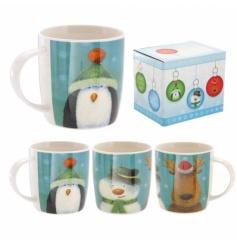 A cute Christmas china mug with Santa Snowman and Penguin image