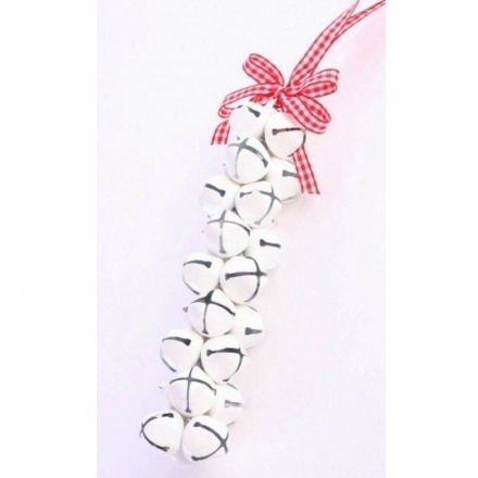 Cluster of White Bells With Gingham Ribbon
