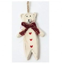 Very cute hanging wooden bear Xmas decoration, Heaven Sends