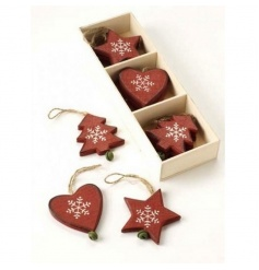 A wooden box filled with 12 hanging decorations in 3 designs.