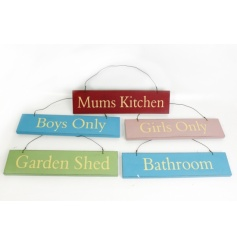 Colourful Wooden Sign Mix in five designs.