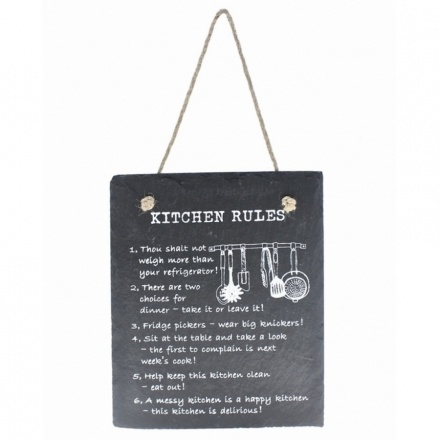 Kitchen Rules Slate Plaque