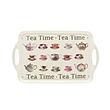 Large tea time tray with vintage tea pot and cup and saucer design.