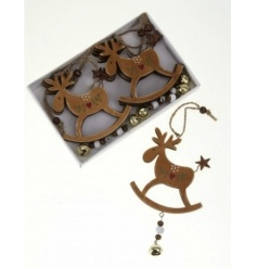 Set of 6 hanging wooden reindeer with gold bell and heart detail.