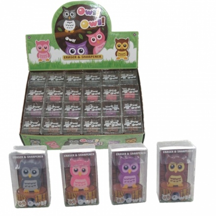 Cute Cartoon Owl Sharpener & Eraser Set