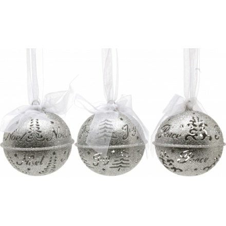 Silver Glittered Bell Ornaments 3 Asstd