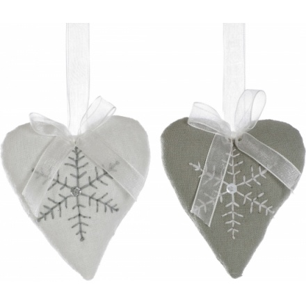 Fabric Heart With Snowflake 2 Asstd