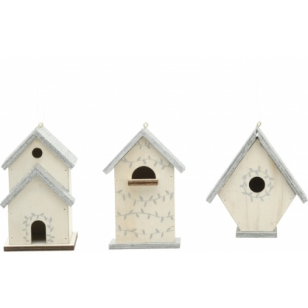 Wooden Bird Houses With Silver Glittered Roof