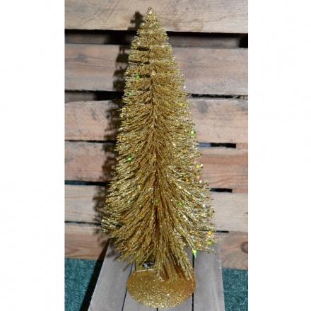 Table Top Gold Glittered Pine Tree 35cm