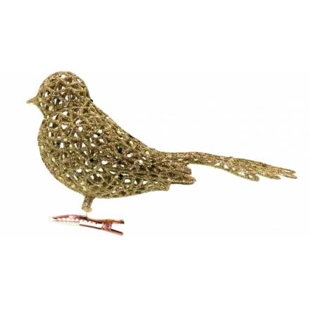 Glittered Filigree Clip on Bird Classic Gold