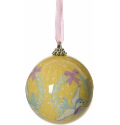 Sweet yellow polka dot bauble with blue bird in wreath design.
