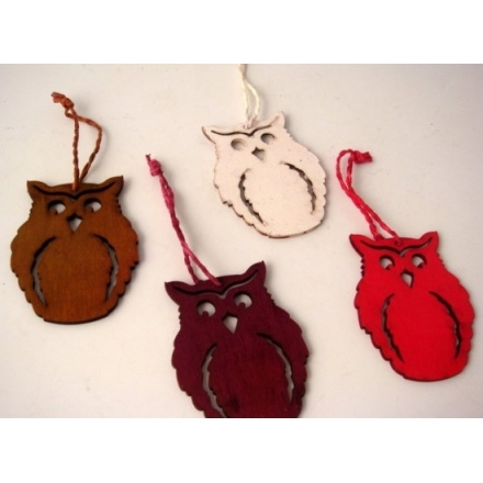 Assorted Christmas owl decorations
