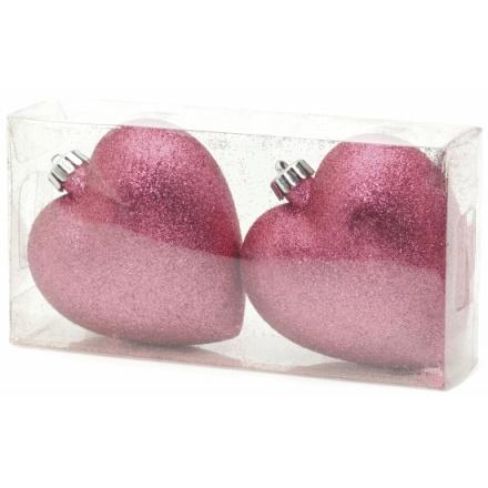 Pink Glitter Heart 3D Shape Decs