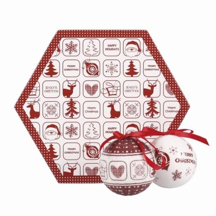 Decoupage Balls in Hexagon Box (7 balls in set)