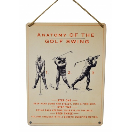 Anatomy of Golf Swing Metal Sign