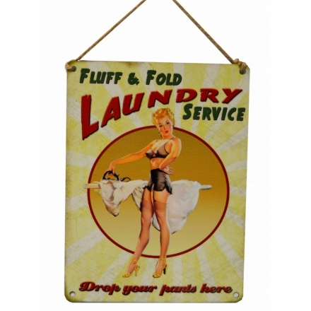 Fluff & Fold Laundry Service Metal Sign
