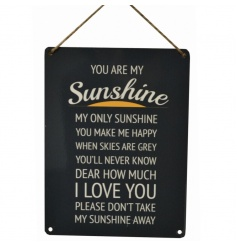 Black, white and orange 'You Are My Sunshine' metal sign with jute rope to hang.