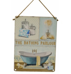 Pretty blue and yellow vintage 'Bathing Parlour' sign with feminine illustrations.