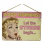 Yellow polka dot and pink metal sign with vintage image and pop art text.